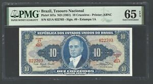 Brazil 10 Cruzeiros ND (1961) P167a Uncirculated Grade 65