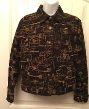 RUBY ROAD Size Medium / 12 Black Abstract Pattern Snap Front Denim LS Jacket NEW