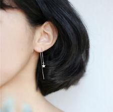 925 Sterling Silver Star Threader Thread Drop Long Dangle Chain Earrings A1544