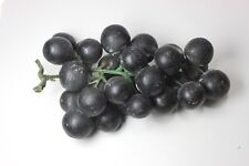 Vintage stone alabaster black grapes fruit bunch 7 in. long. green plastic vine