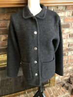 Lands End 100% Wool Cardigan Sweater With Silver Buttons Size XS
