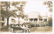 RPPC Real Photo Postcard Woman & Auto Near Large Victorian House ~ Cloth Awnings