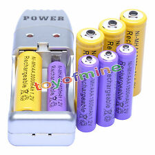 4 AA 4 piles rechargeables AAA + 2 Case + Chargeur USB