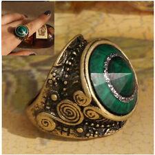 Vintage Retro Charm Turquoise Big Green Rhinestone gem Stone Metal Alloy Ring
