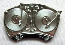 Gürtelschnalle Plattenspieler silberfarben Schallplatte Schellack Turntables