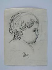 "Mary Stevenson Cassatt ""Infant"" Original handsigned pencil study 1885's -FAR tag"