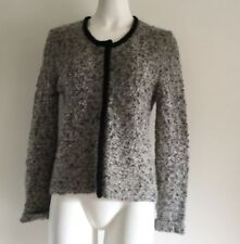 Garnet Hill Womens Sweater M Medium Wool Cardigan Gray Black Green Mohair