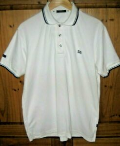 U2 Mens Polo Shirt Top Button Collar Pullover White Cotton Size Large x Large