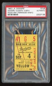 Ron Perranoski Win #12 September 4 1962 9/4/62 Dodgers Giants Ticket Stub PSA