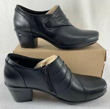 CLARKS Women's Black Emslie Willa Leather Booties Size 7 Wide