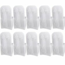10 White Organza Chair Cover Sashes Bow for Wedding Party Birthday Decor N3