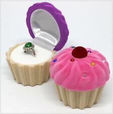 Necklace Ring Boxes Jewelry Box Velvet Cake Earring Wedding CasePurple+Beige 026