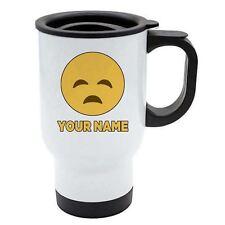 Personalisiert Gesicht Emoji Weiß Reisebecher - Traurig 3 Add Ihr Name -