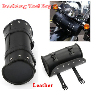 Black Leather Motorcycle Handlebar Sissy Bar Saddlebag Roll Barrel Tool Bag