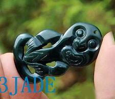 Natural Nephrite Jade Hei Tiki Pendant, NZ Maori Style Both Sides Carved Pounamu