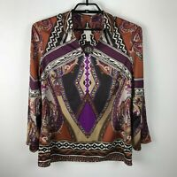 Chico's Scarf Print Collared Popover Blouse Bell Sleeves Brown Purple Size M 1