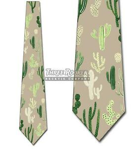 Cactus Ties Mens Floral Greenery Nature Necktie