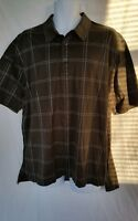 Brooks Brothers Men's Golf Brown Checkered Polo Shirt XL 100% Mercerized Cotton