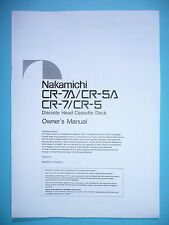 Owner 'S Manual User Manual for Nakamichi Cr-7/Cr-5