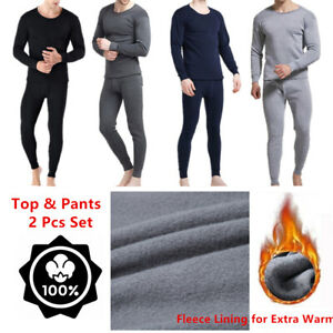 Men Winter Fleece Lined 100% Cotton Thermal Long Johns Top Bottom Underwear Set