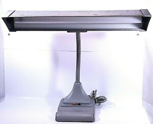 Vintage Art Specialty Co USA Flexarm Gooseneck Grey Metal Desktop Piano Lamp