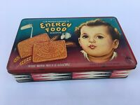 1950 Vintage Old JB MANGHARAM Kid Print Confectionery Energy Biscuits Tin Box