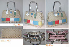 Coach Signature Multi Stripe COLOR Frame Carryall 17444 MULTI PURSE BAG TOTE