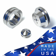 Big Block Ford Pulley Kit 429 460 BBF 2 Groove V-Belt Billet Aluminum PS Set