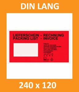 200 Lieferscheintaschen Begleitpapiertaschen DIN Lang - 240 x 120 mm - TOP