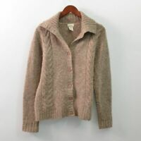 LL Bean Wool Blend Cardigan Sweater Brown Stretch Womens Large L