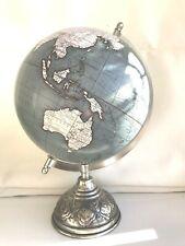 Globe Iron Base Atlas Table Desk Ornament Vintage Antique Style World Map Blue