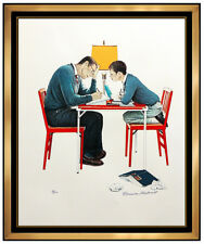 Norman Rockwell Hand Signed School Days Studying Lithograph Illustration Artwork