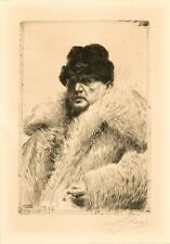 Anders Zorn, SELF PORTRAIT IN A WOLFSKIN COAT, Hand Signed Original Etching