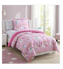 Unicorn Comforter Set For Girls Twin Bedding Bed in a Bag 5 pcs