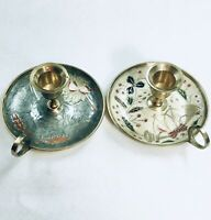 2 Beautiful Enameled Solid Brass Christmas Chamber Candle Holders Home Decor #1