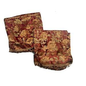 Rare Croscill Discontinued Cipresi English Rose Valances Red Gold Curtains Pair