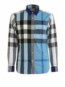 $295 NWT BURBERRY CLANDON BLUE COTTON GREY WHITE NOVA CHECK LONG SLEEVE SHIRT XL