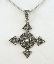 Vintage Sterling Silver Marcasite Celtic Cross Pendant Chain Necklace