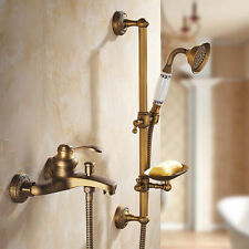 Antique Brass Bathroom Bath Tub Mixer Tap Shower Rail Kit With Soap Dish Holder