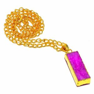 """Pink Cluster Druzy Gemstone Gold Overlay Silver Jewelry N-85 Necklace 18"""""""
