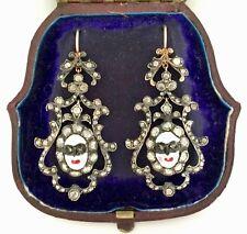 Una splendida coppia di Rose Georgiano Diamante Taglio & Faccia Dello Smalto Orecchini circa 1790's