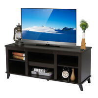 TV Stand Unit Cabinet w/6Shelves Storage Modern Wood Entertainment Console Table