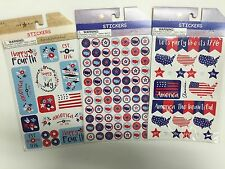 New listing 3 Pks. Patriotic Stickers Teacher Supply Usa Flags Stars 4th July Planner Party