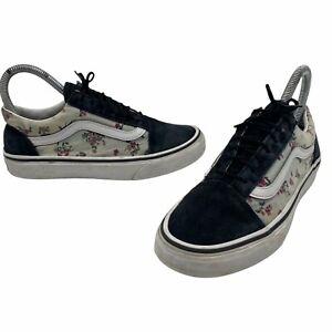 Vans Old Skool Black Suede &  Floral Skating Shoes Men's 3.5 Women's 5