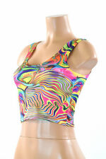 LARGE Trippy Tropical Swirl Spandex Rave Festival Crop Tank Top Ready To Ship!