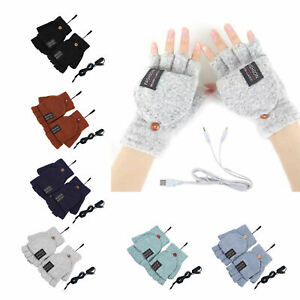 Winter USB Heating Half Finger Gloves Mitten Knitting with Cover Button