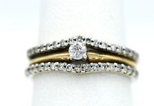 Ladies 14K Two-Tone 1/3 Carat Diamond Solitaire Wedding Ring Set 5.25 WG Jacket