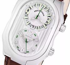 Philip Stein Men's Signature Silver Dial Dual Time Swiss Quartz Watch 12LWABR