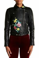 $240 Romeo & Juliet Couture Floral Embroidered Moto Jacket Black  Size Small NWT