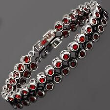 Schmuck Jewelry Fashion Round Cut Red Ruby Tennis Statement Fashion Bracelet